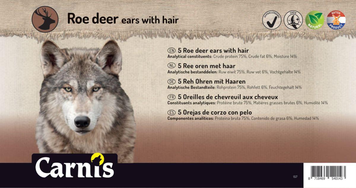 157v sticker groot 5 ree oren met haar 170x90mmvoorzijde