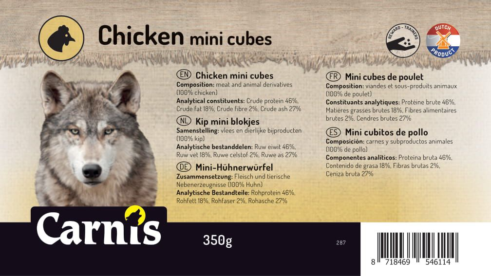 chicken mini cubes 8 x 350g bucket