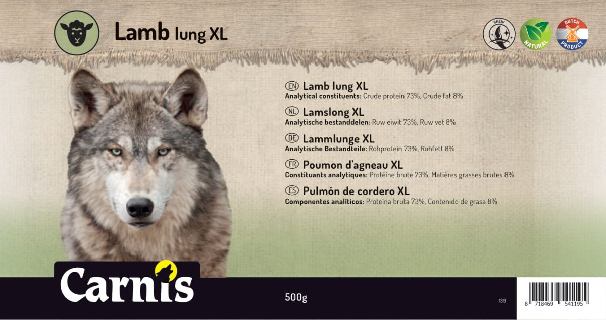 lamb lung xl 5 x 500g