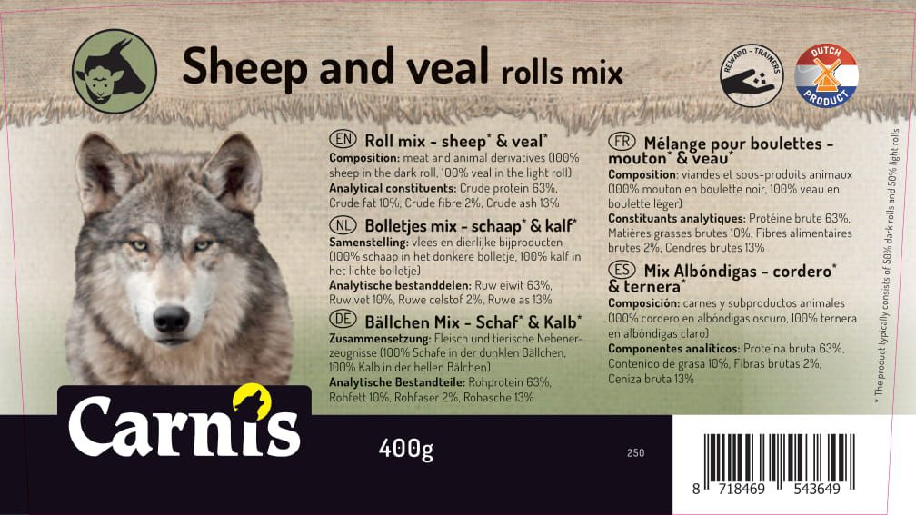 roll mix sheep veal 8 x 400g bucket