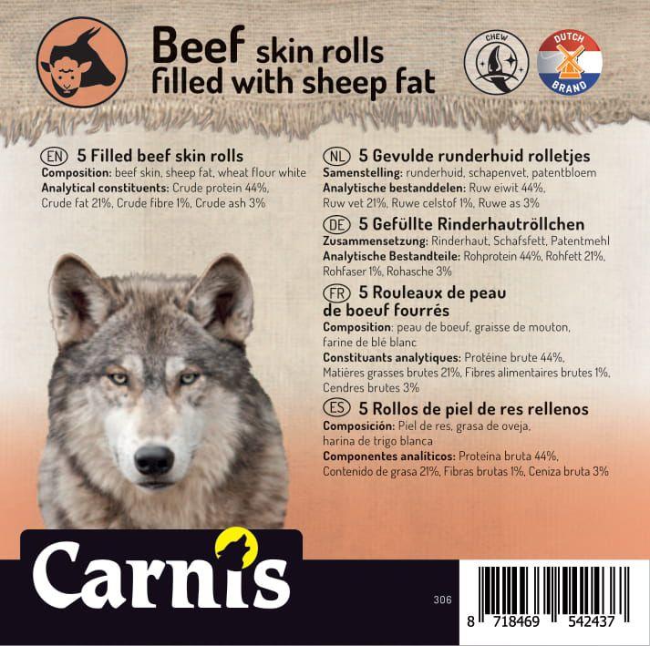 rouleaux de peau de boeuf fourrs 5 x 5 pices