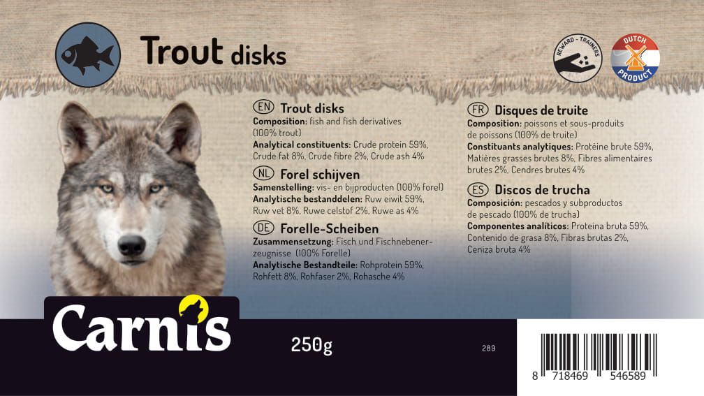 trout disks 8 x 250g bucket